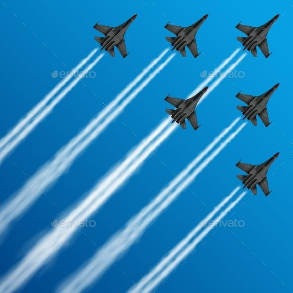 Military Fighter Jets with Condensation Trails