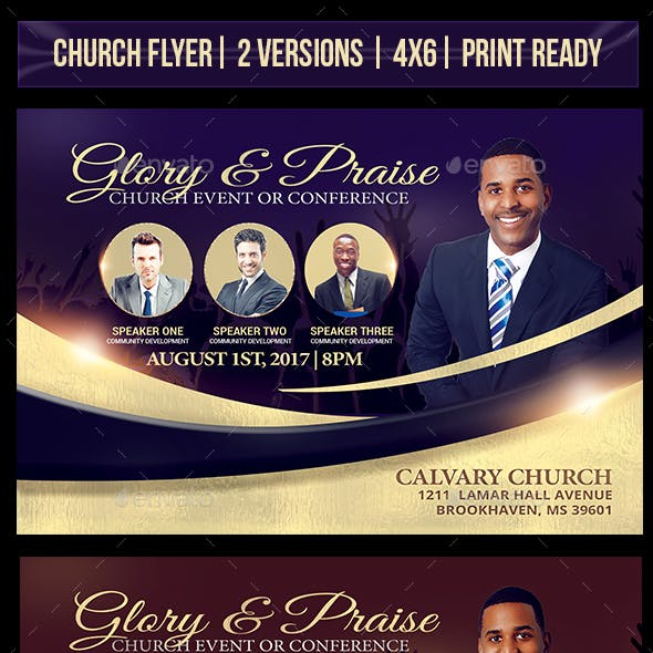 Glory and Praise Church Flyer Template