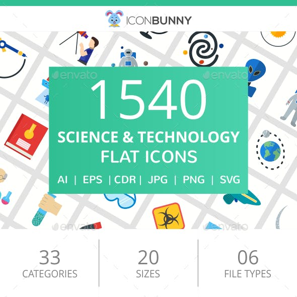 1540 Science & Technology Flat Icons