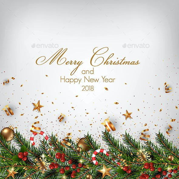 Stylish Modern Merry Christmas and Happy New Year 2018 cards
