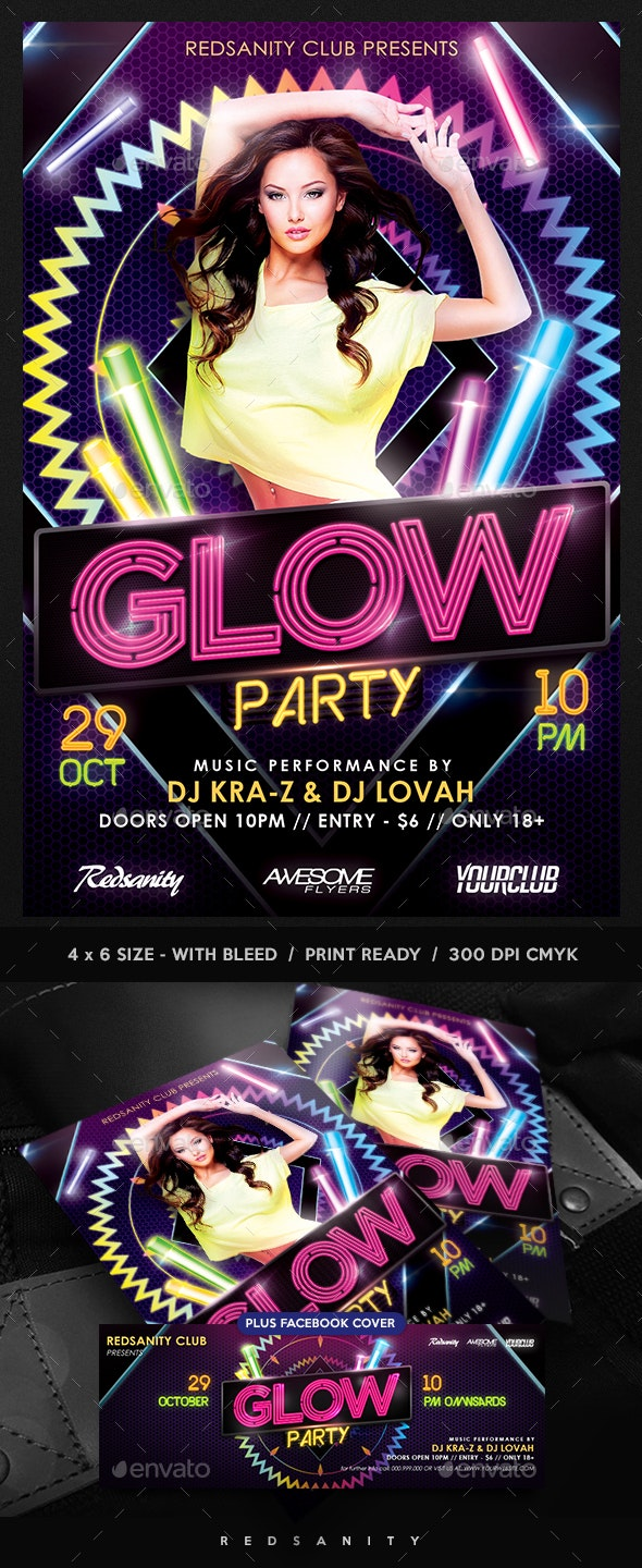 Glow Party Flyer plus FB Cover - Clubs & Parties Events