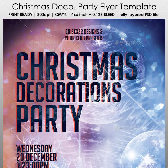 Christmas Decorations Party Flyer Template