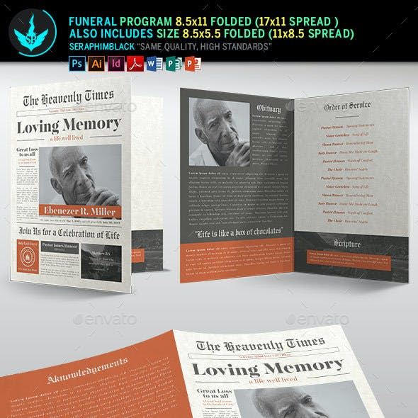 Newspaper Funeral Program Template