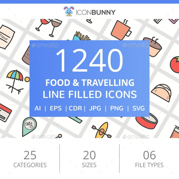 1240 Food & Travelling Filled Line Icons