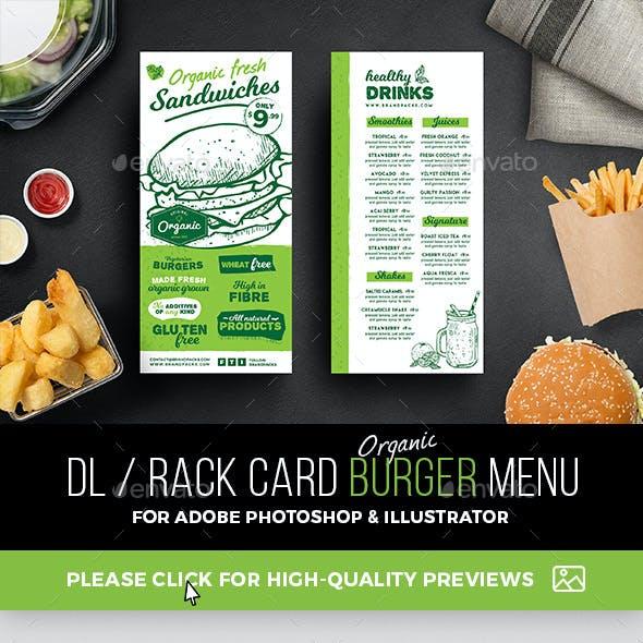DL Rack Card Burger Menu