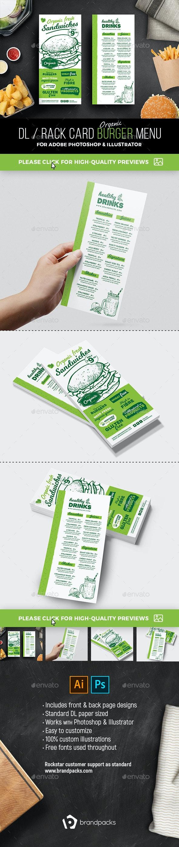 DL Rack Card Burger Menu - Food Menus Print Templates