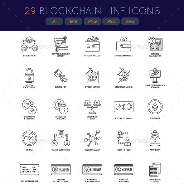 Bitcoin, Cryptocurrency & Blockchain Icons