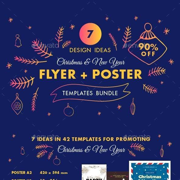 Christmas Flyer Poster Design Templates Bundle