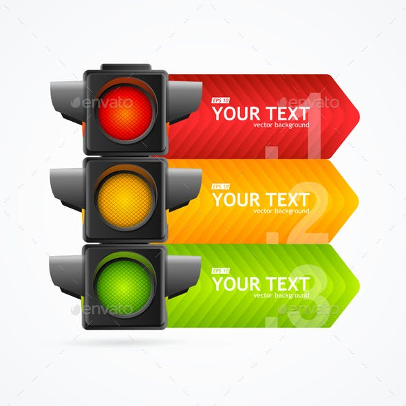 Detailed Road Traffic Light Banner Card