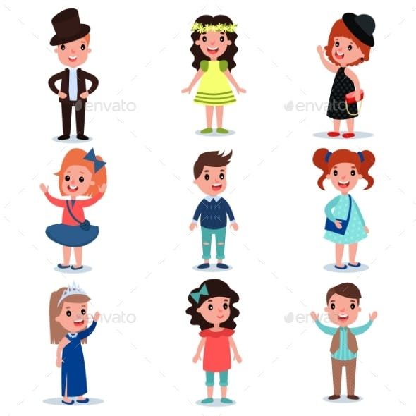 Collection of Kids Characters Dressed Up