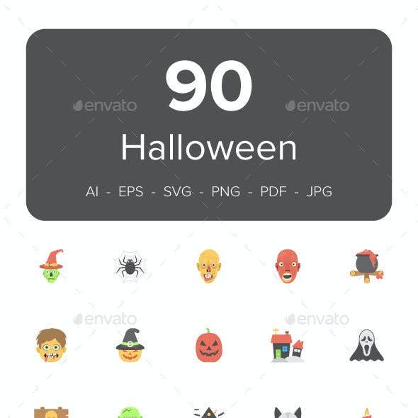 90 Halloween Flat Icons Set
