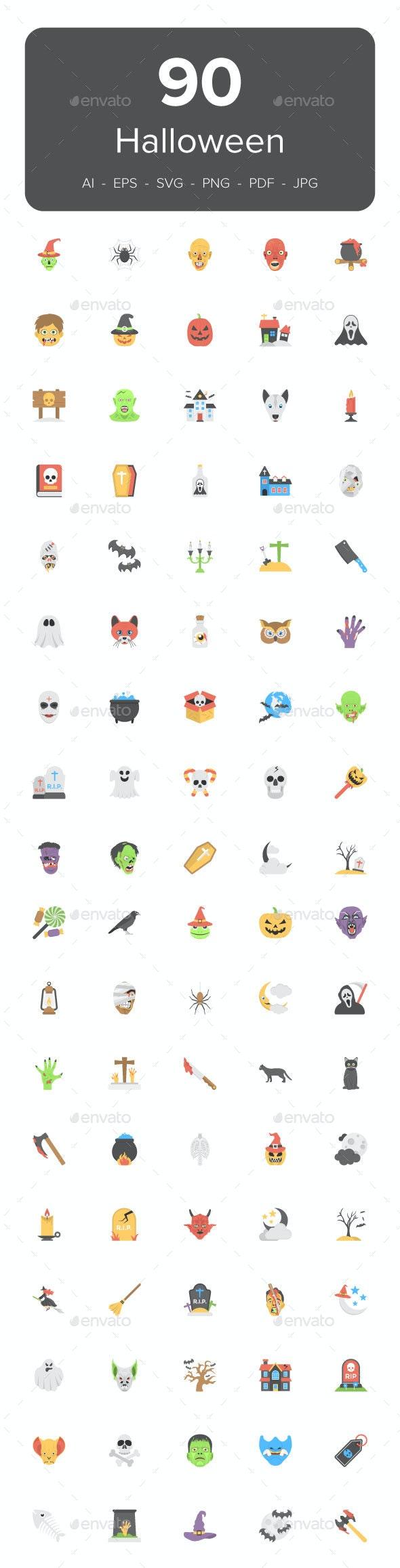 90 Halloween Flat Icons Set - Icons