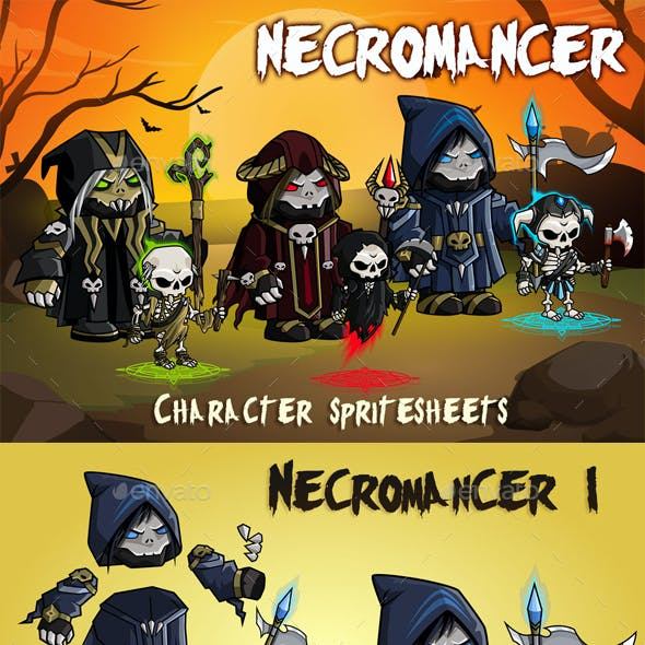 Necromancer 2D Game Character Sprite Sheet
