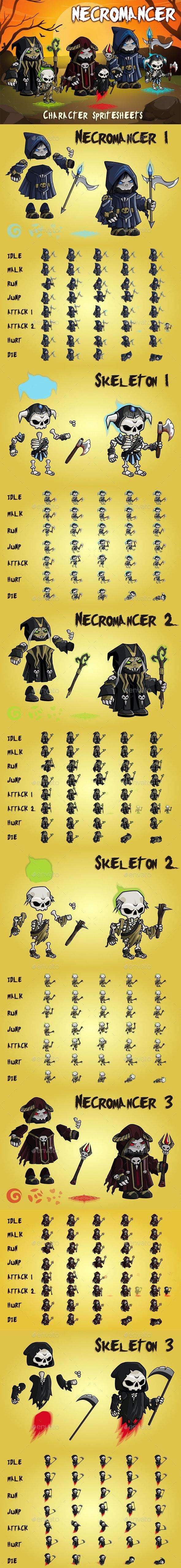 Necromancer 2D Game Character Sprite Sheet - Sprites Game Assets