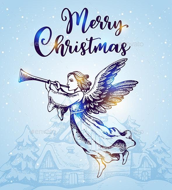Christmas Angel.Christmas Angel Flies Over Houses