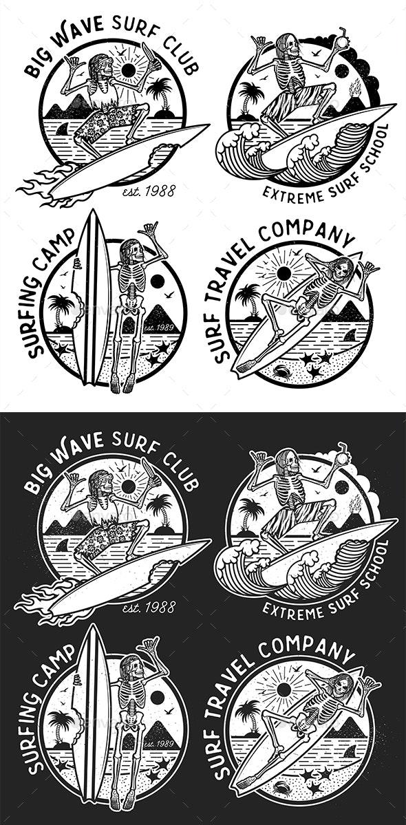 Skeleton Surfer Logo Templates