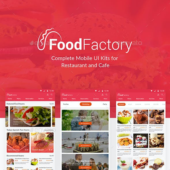 Food Factory - Complete Mobile UI Kits for  Restaurant and Cafe