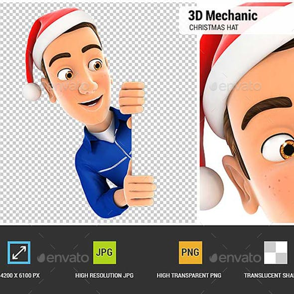 3D Mechanic with Christmas Hat Peeping Over Wall