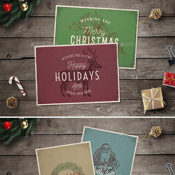 4 Vintage Christmas Cards