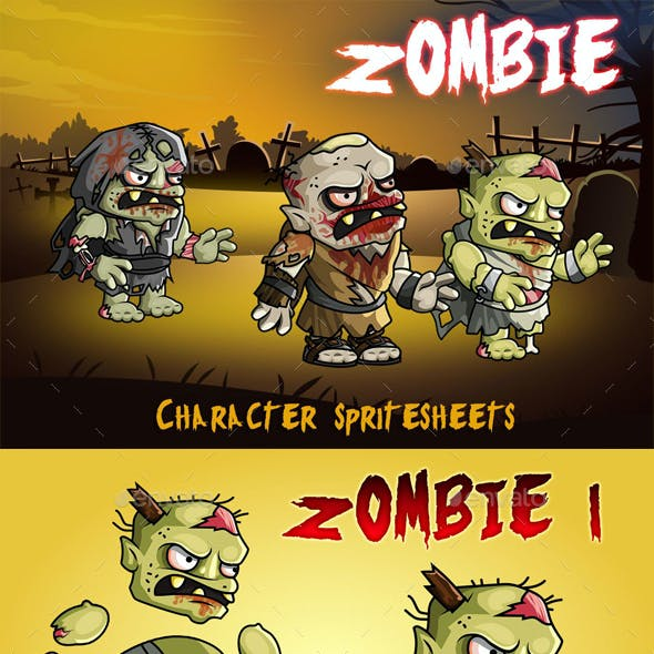 Zombie 2D Game Character Sprite Sheet
