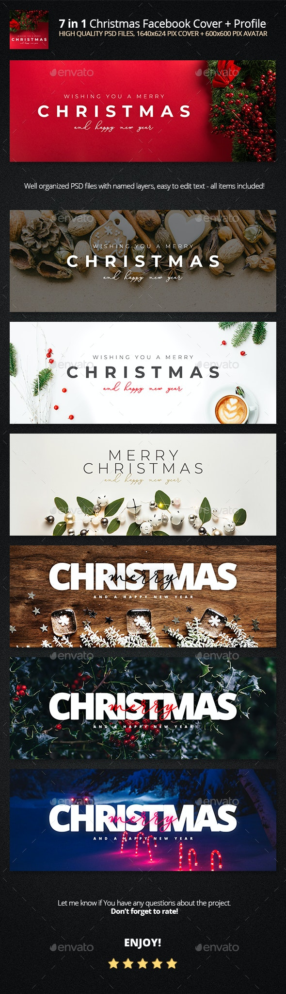 7in1 Minimalistic Christmas FB Cover Pack - Facebook Timeline Covers Social Media