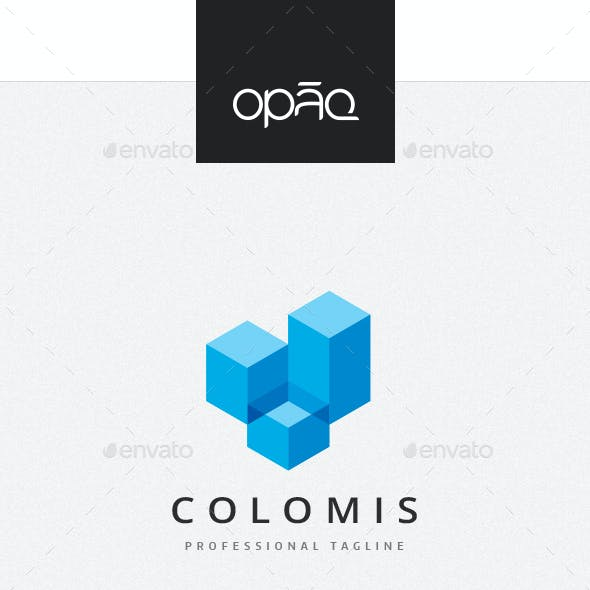 Abstract Cubical Columns Logo