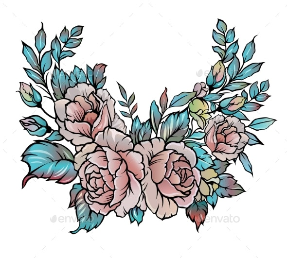 Vintage Roses Vector Illustration - Flowers & Plants Nature