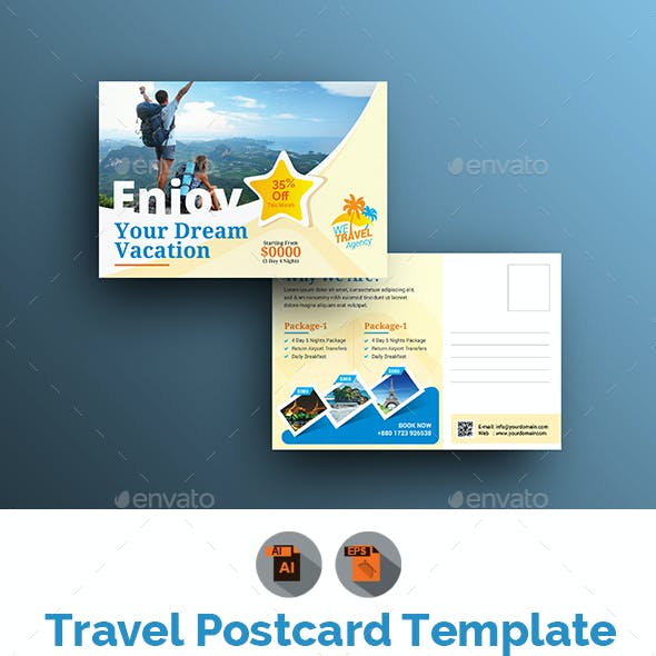 Holiday Travel Postcard Template