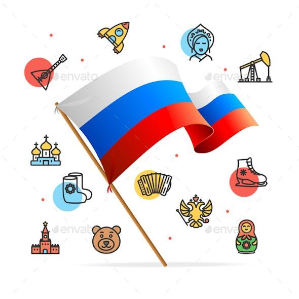 Russia Design Template Line Icon Concept and Flag