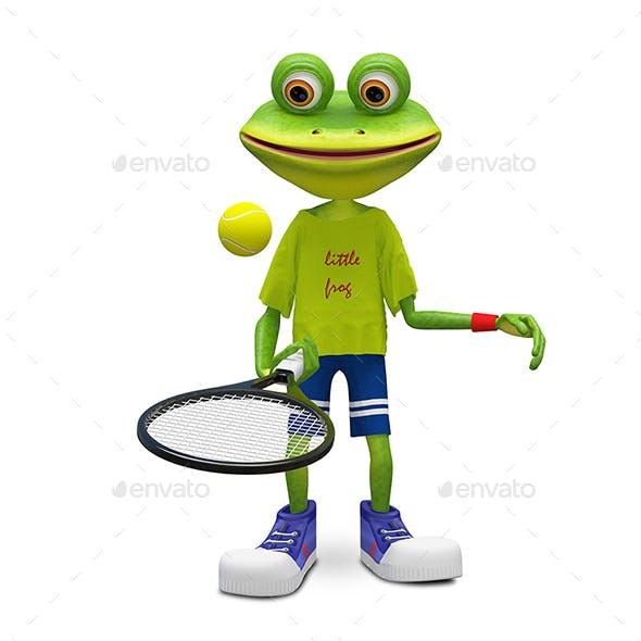 3D Illustration Frog with Tennis Racket