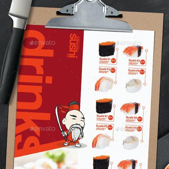 A4 Sushi Menu Templates