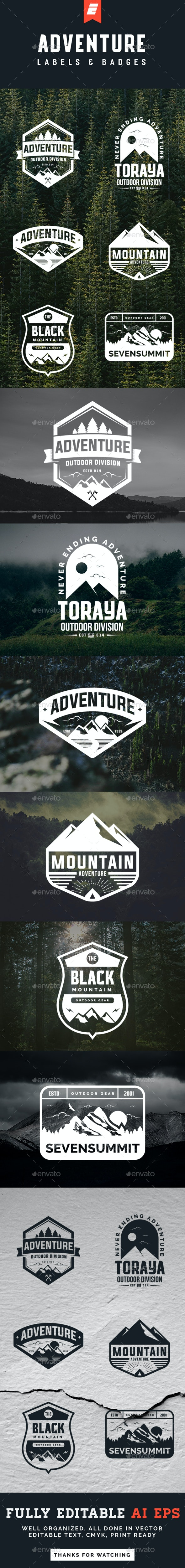 Adventure Logo and Badges - Badges & Stickers Web Elements