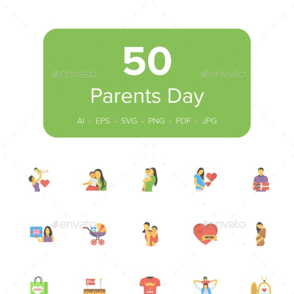 50 Flat Icons of Parents Day