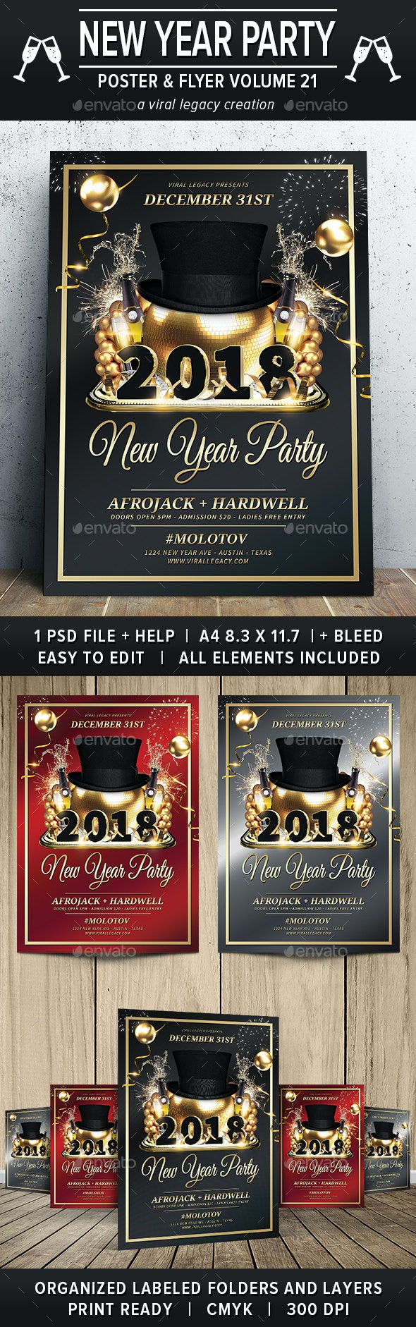 New Year Party Poster / Flyer V21 - Flyers Print Templates
