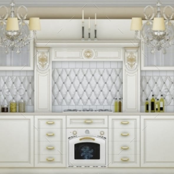 3D Illustration of White Kitchen in Classical