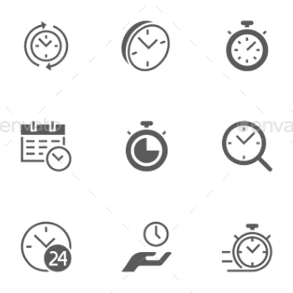 Set of Time Management Vector Icons. 48X48 Pixel