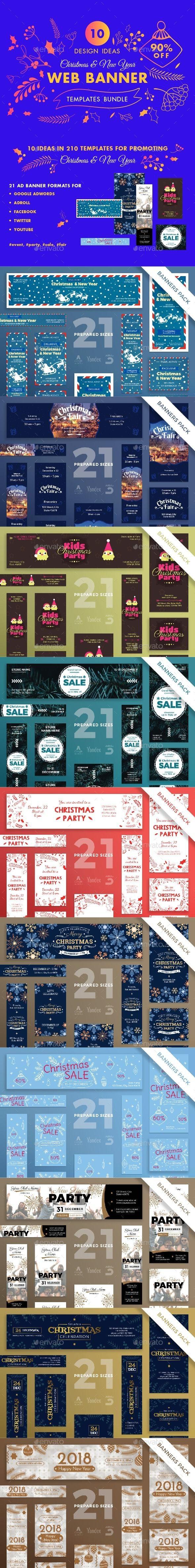 Christmas Web Banner Design Templates Bundle - Banners & Ads Web Elements