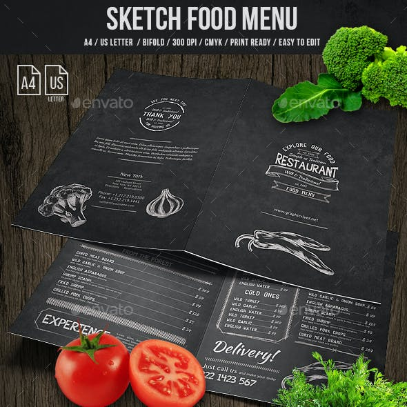 Sketch Bifold Menu - A4 and US Letter