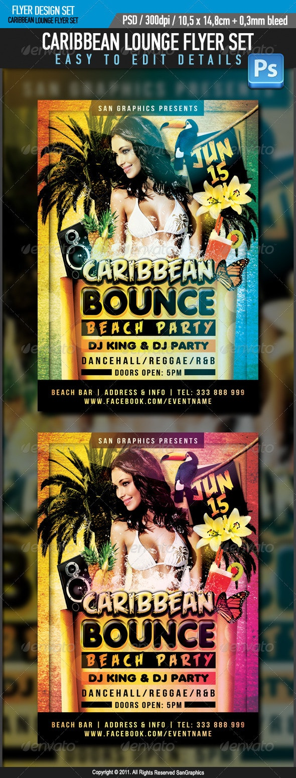 Caribbean Bounce Flyer - Clubs & Parties Events