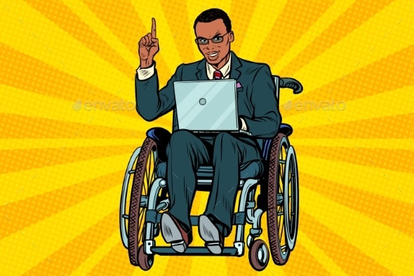 Businessman in Wheelchair with Laptop - Business Conceptual