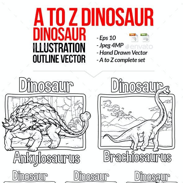 A to Z Dinosaur Illustration