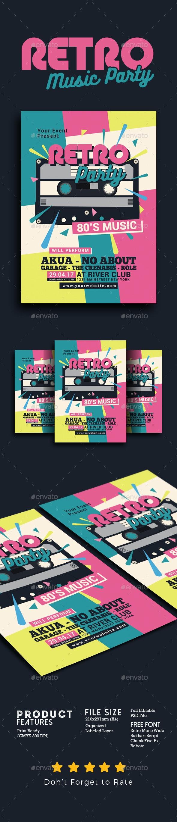 80's Retro Music Party Cassette - Events Flyers