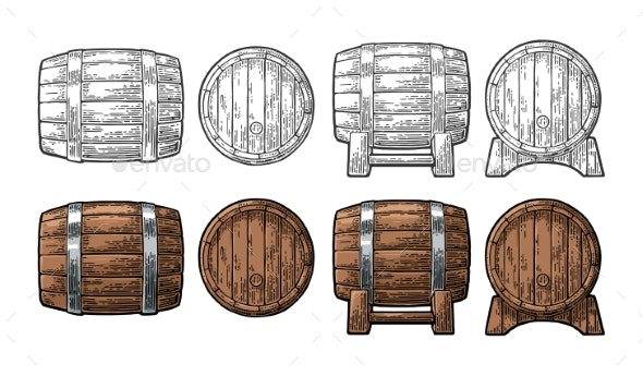 Wooden Barrel Front and Side View Engraving Vector - Man-made Objects Objects
