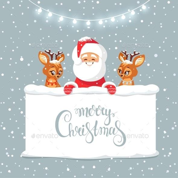 Santa and Deer - Christmas Seasons/Holidays