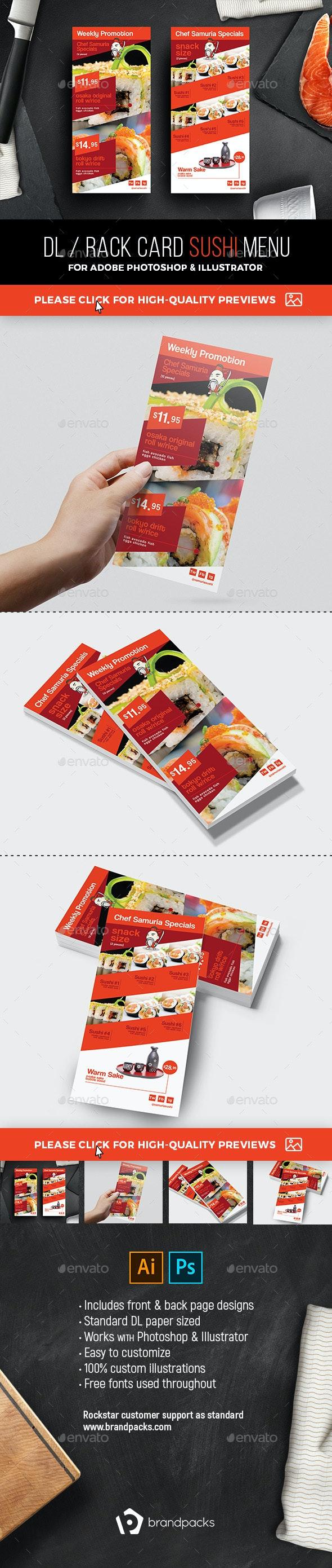 DL Sushi Menu Template - Food Menus Print Templates