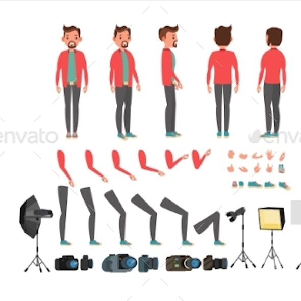 Photographer Vector. Taking Pictures. Animated Man