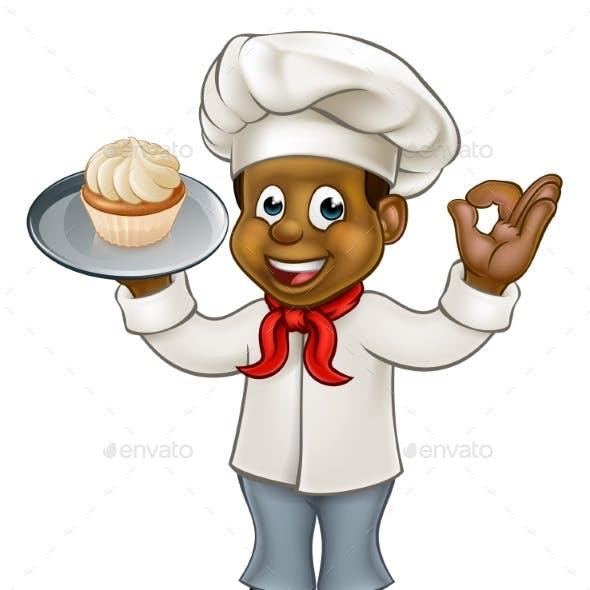 Black Chef or Baker Cartoon