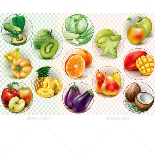 Rings with Fruits and Vegetables