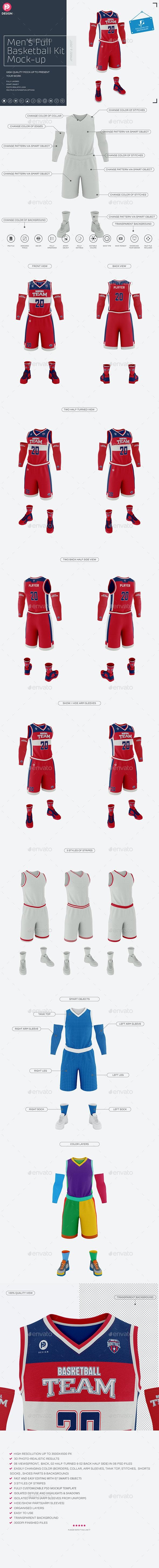 Men's Full Basketball Kit  V-Neck Jersey Mock-up - Miscellaneous Apparel