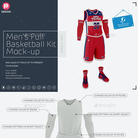 Men's Full Basketball Kit  V-Neck Jersey Mock-up